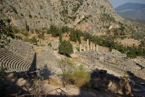 Delphi, Greece - Greece+Albania off-season UNESCO sites tour 19 days from Igoumenitsa. Monterrasol Travel minivan private tour.