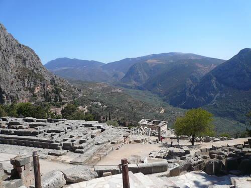Delphi, Greece - Greece off-season UNESCO places tour 29 days from Athens. Monterrasol Travel minivan private tour.