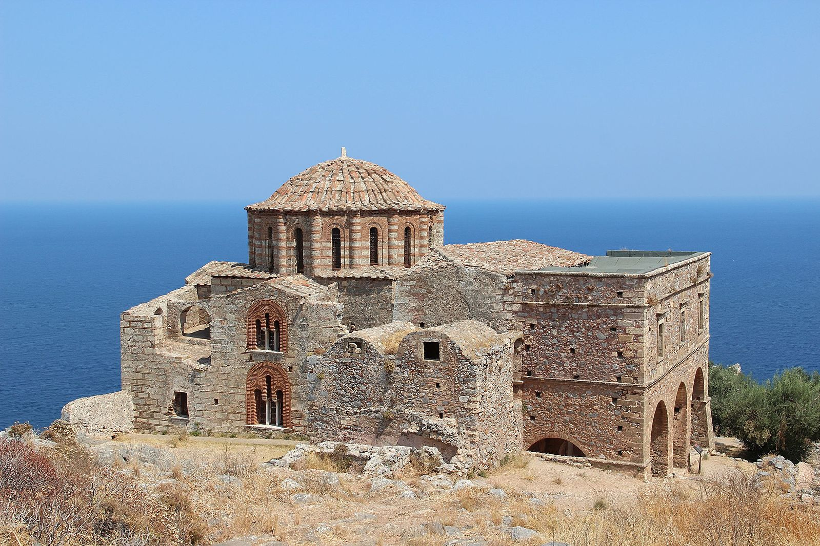 Monemvasia, Greece - Greek Peloponnese round tour in 15 days. Visit all main attraction of Peloponnese peninsula and see castles, ancient places, beaches. This is Peloponnese where located Sparta, Corinth, Mycenae, Epidaurus, Monemvasia.
