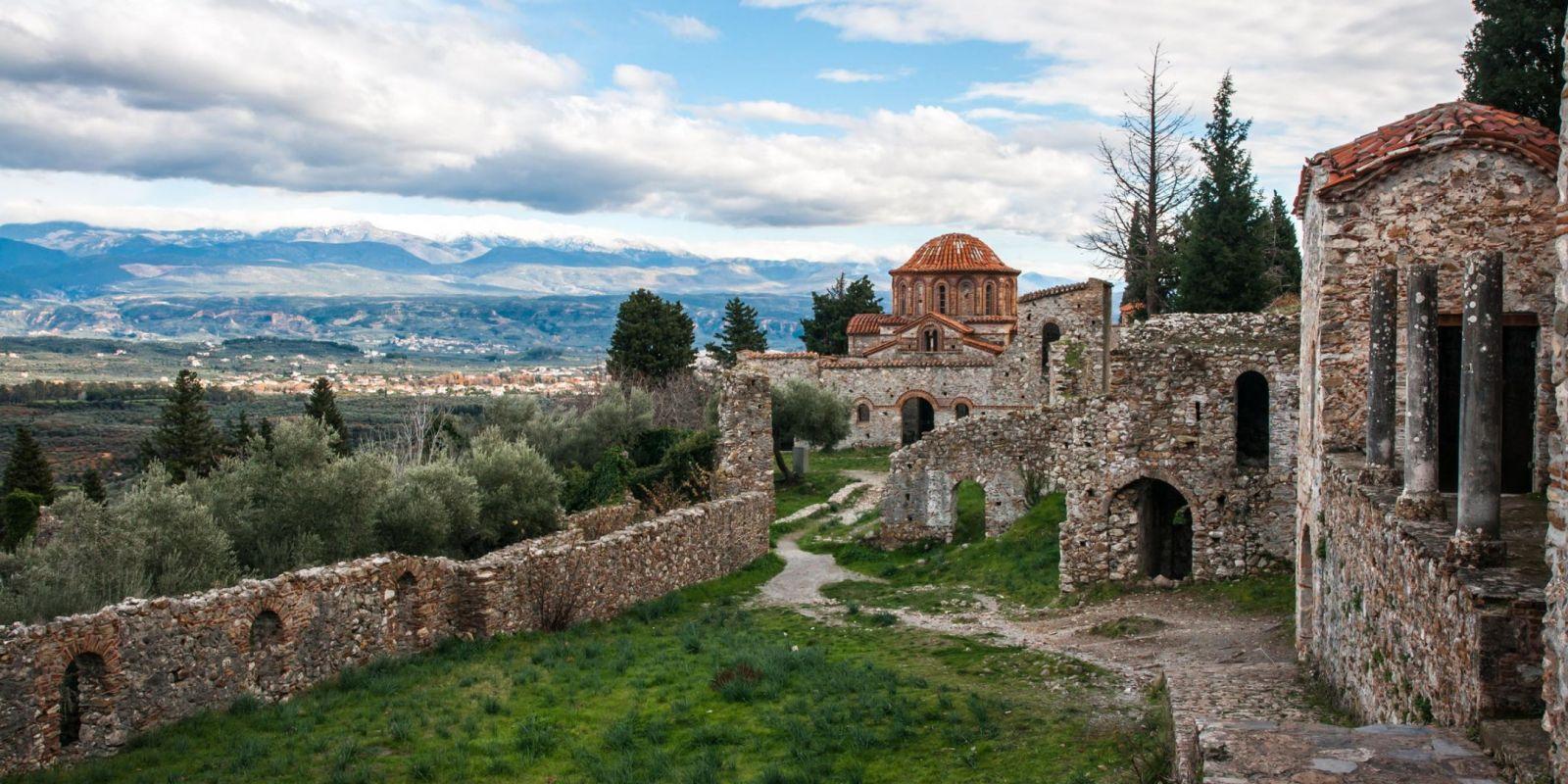 Mystras, Greece - Greece+Albania off-season UNESCO sites tour 22 days from Athens. Monterrasol Travel minivan private tour.