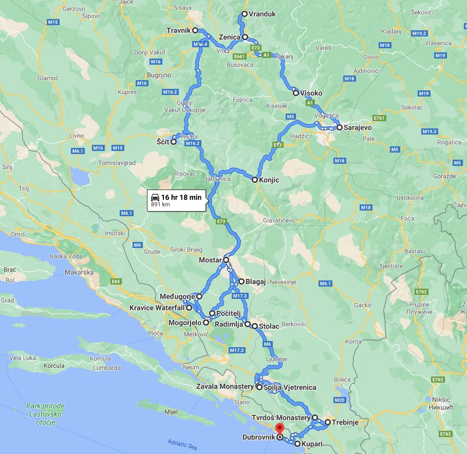 Tour map for Discover best of Bosnia in 7 days tour from Dubrovnik. Monterrasol Travel private tour in minivan. Visit famous Mostar, Sarajevo, fortresses, natural park with waterfall and cave.