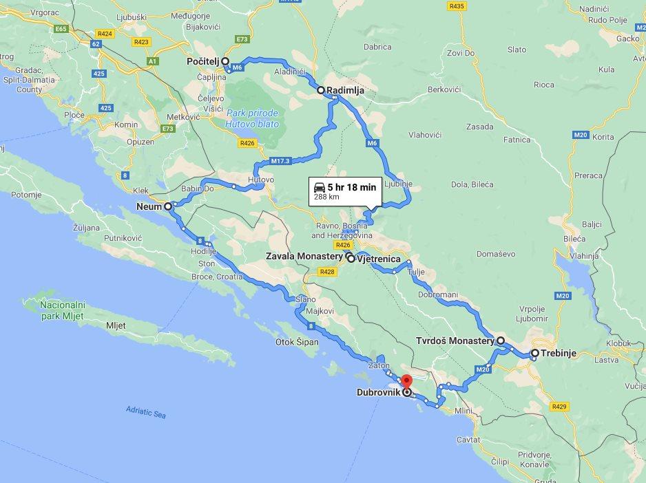 Tour map for Summer 2 days Bosnia discovery tour from Dubrovnik. Monterrasol Travel private tour in minivan. Dubrovnik Riviera, Trebinje, Tvrdos monastery, cave.