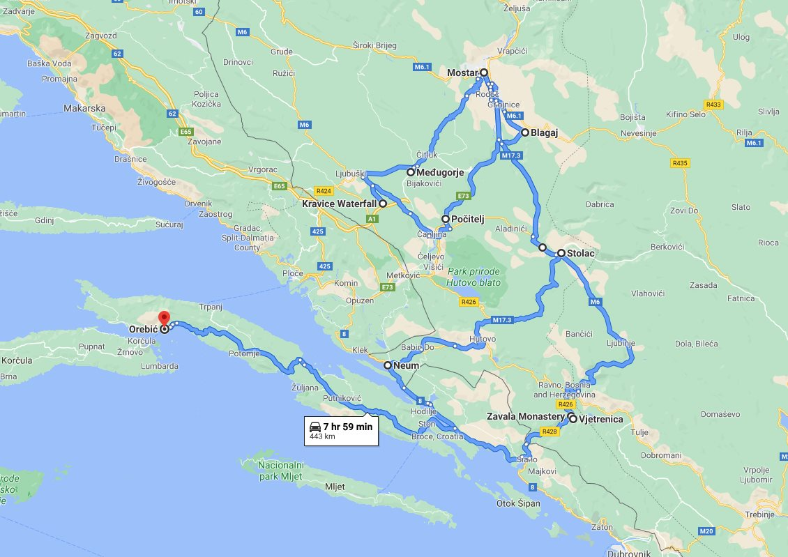 Tour map for All seasons best of Bosnia 3 days discovery tour from Korcula. Private minivan tour by Monterrasol Travel. Old town Mostar, Kravice waterfalls, Zavala monastery, fortified town Počitelj.