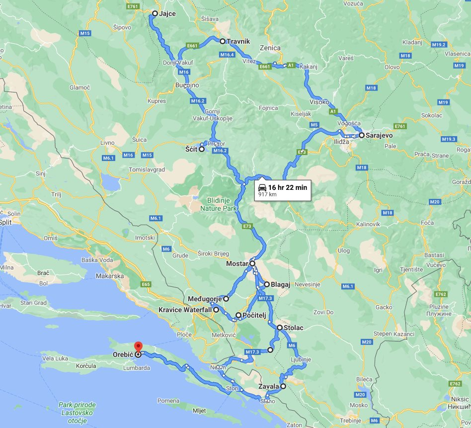 Tour map for All seasons explore Bosnia 7 days tour from Korcula. Monterrasol Travel private tour in minivan. Jajce fortress, old Sarajevo, fortified town Počitelj, Zavala monastery and more.