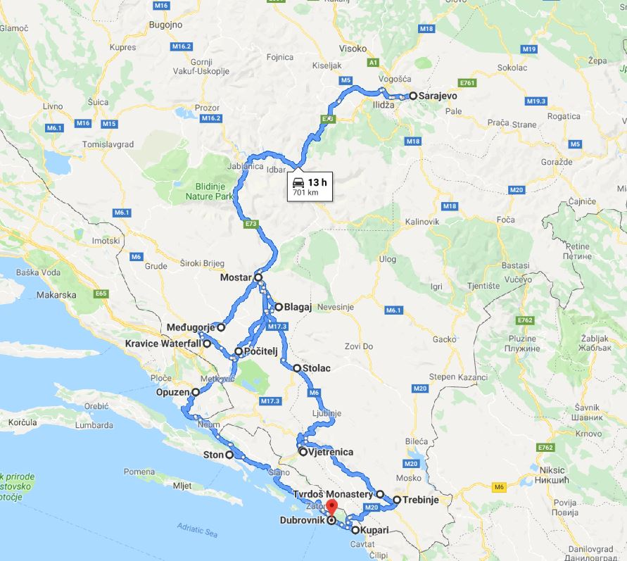 Tour map for All seasons 7 days tour to visit the best of Bosnia. Private tour in minivan from Monterrasol Travel. Tour start in Dubrovnik. Visit fortresses, monasteries, old towns and cave.