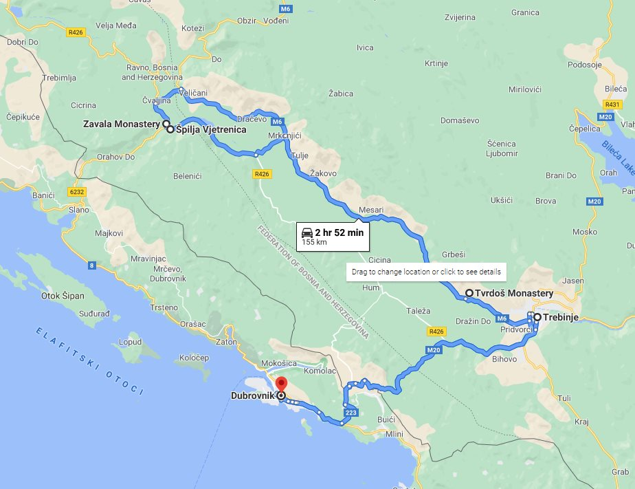 Tour map for #128 Day trip from Dubrovnik to see Bosnia with wine tasting in Tvrdos monastery. Private minivan tour by Monterrasol Travel. See Trebinje, Tvrdos monastery, Zavala monastery, Vjetrenica cave.