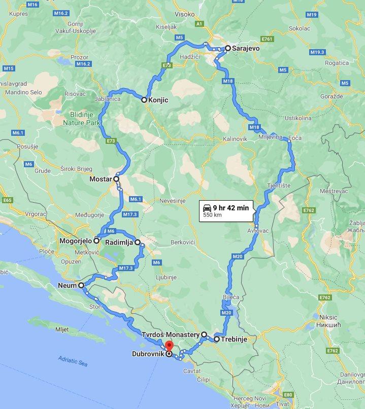 Tour map for Bosnia discovery all seasons 3 days tour from Dubrovnik. Private tour with minivan by Monterrasol Travel. Trebinje, Tvrdos, Sarajevo, Mostar, Mogorjelo, Dubrovnik Riviera.