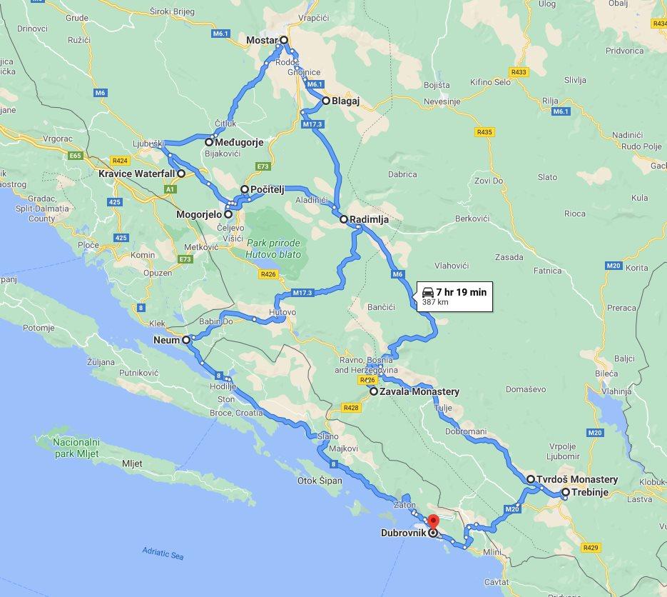 Tour map for #130 Bosnia discovery all seasons 3 days tour from Dubrovnik. Minivan private tour by Monterrasol Travel. Trebinje, Tvrdos, Blagaj, Mostar, Medjugorje, Kravica, Pocitelj, Mogorjelo.