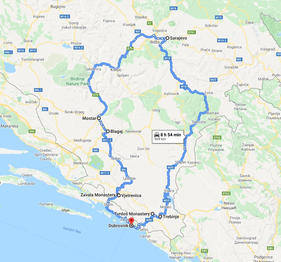 Tour map for Summer 4 days Bosnia discovery tour from Dubrovnik. Monterrasol Travel private tour in minivan. Visit Trebinje, Sarajevo, Mostar, monasteries, cave.