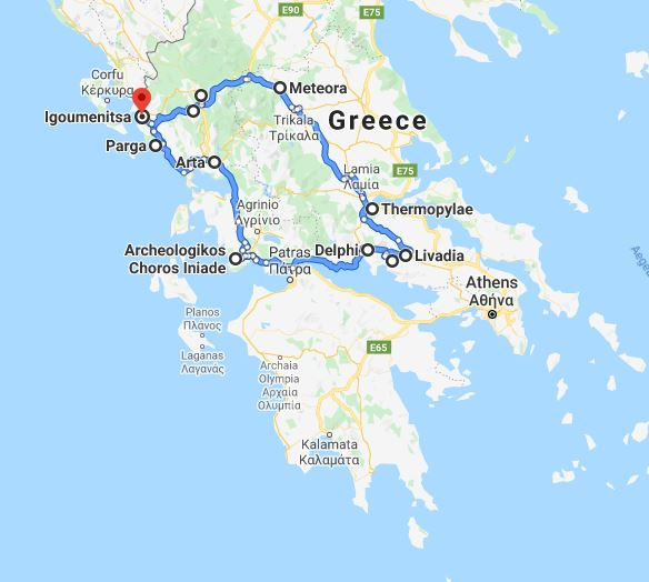 Tour map for Discover Greece in 7 days tour from Igoumenitsa. Ancient towns, beaches, castles and monasteries. Monterrasol Travel tour with private minivan. Visit the most important Greece mainland UNESCO sites.