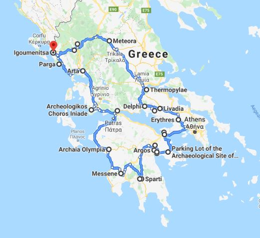 Tour map for Explore Greece by off-season 16 days tour from Igoumenitsa. UNESCO sites, fortresses, monasteries. Private tour from Monterrasol Travel by car. Discover main UNESCO sites of Peloponnese and Greece mainland.