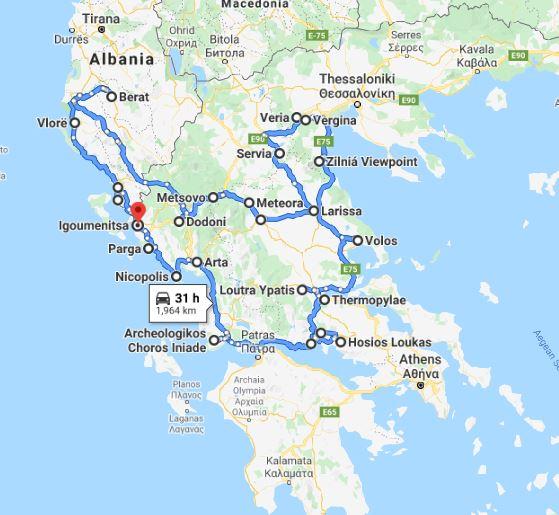 Tour map for Greece+Albania off-season UNESCO sites tour 19 days from Igoumenitsa. Monterrasol Travel minivan private tour. Visit most of UNESCO Greece mainland and Albania places.