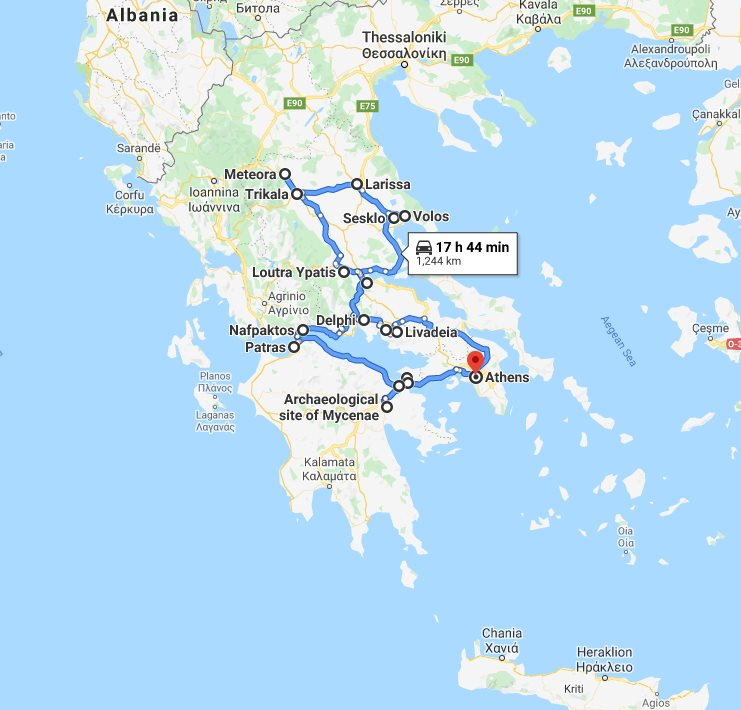 Tour map for #142 Small 9 days discovery tour of Central Greece from Athens. Private tour with minivan by Monterrasol Travel. Explore main touristy attractions of Central Greece.