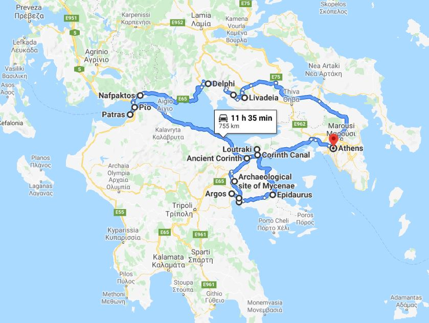 Tour map for Greece discovery 9 days tour from Athens. Ancient towns, beaches, castles and monasteries. Private tour in minivan by Monterrasol Travel. Discover central Greece: Delphi, Nafpaktos, Corinth, Mycenae.