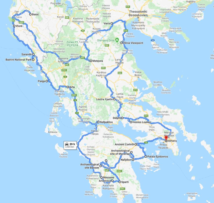 Tour map for Off-season Greece+Albania UNESCO places 26 days tour from Athens. Monterrasol Travel tour in private minivan. Visit most of UNESCO Greece+Albania places.