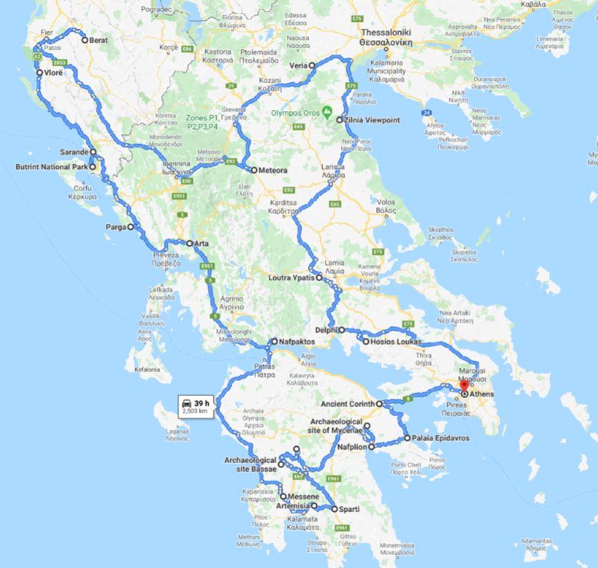 Tour map for #144 Off-season Greece+Albania UNESCO places 26 days tour from Athens. Monterrasol Travel tour in private minivan. Visit most of UNESCO Greece+Albania places.