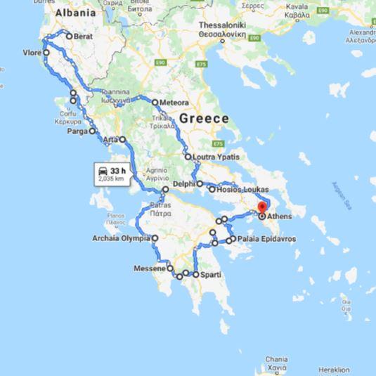 Tour map for Greece+Albania off-season UNESCO sites tour 22 days from Athens. Monterrasol Travel minivan private tour. Visit most of UNESCO Greece mainland and Albania sites.