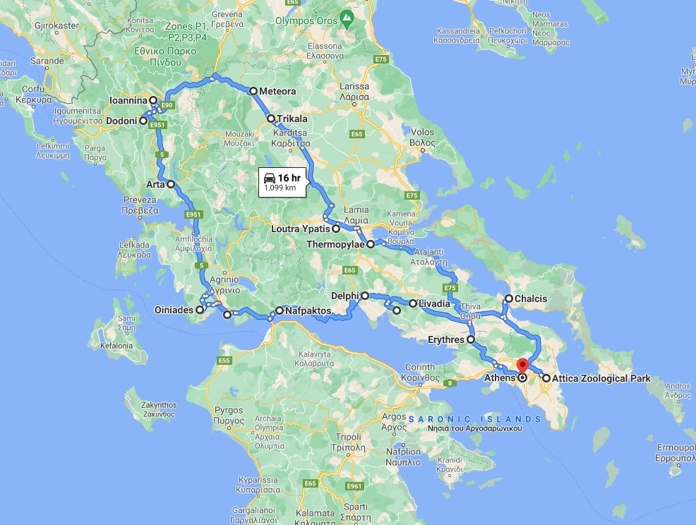 Tour map for #147 All seasons central Greece discovery 10 days small tour from Athens. Private tour with minivan by Monterrasol Travel. Main attractions of Central Greece.