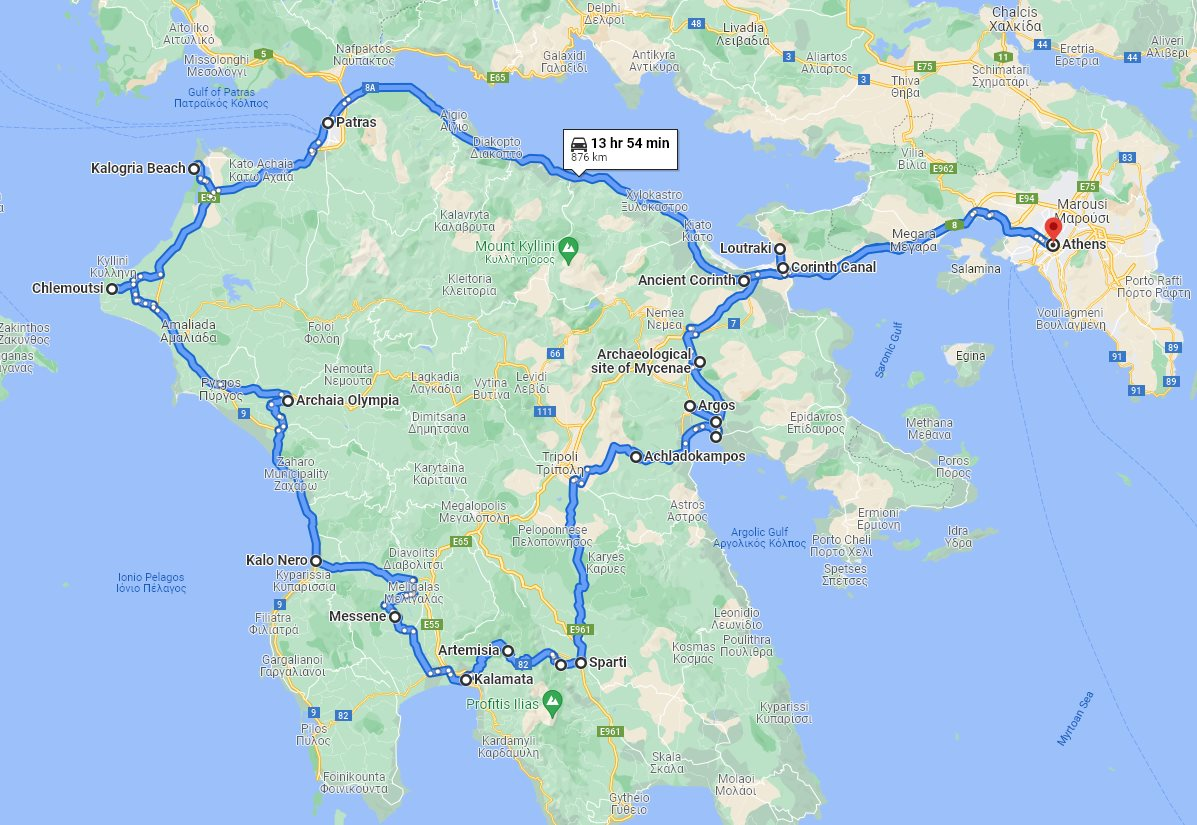 Tour map for #148 Discover Peloponnese with all seasons 9 days tour from Athens. Monterrasol Travel private tour with minivan. Mycenae, Sparta, Mystras, Olympia, Corinth and others.
