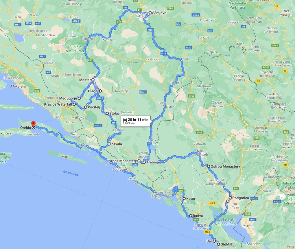 Tour map for Year round Bosnia & Montenegro discovery 8 days tour from Korcula. Monterrasol Travel private tour in minivan. Bosnia & Montenegro: visit main attractions of 2 countries.