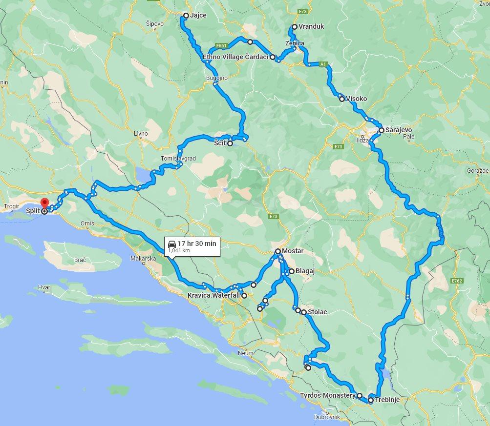Tour map for #153 All seasons 9 days Bosnia discovery tour from Split. Private tour in minivan from Monterrasol Travel. Visit Jajce, Travnik, Sarajevo, Mostar.
