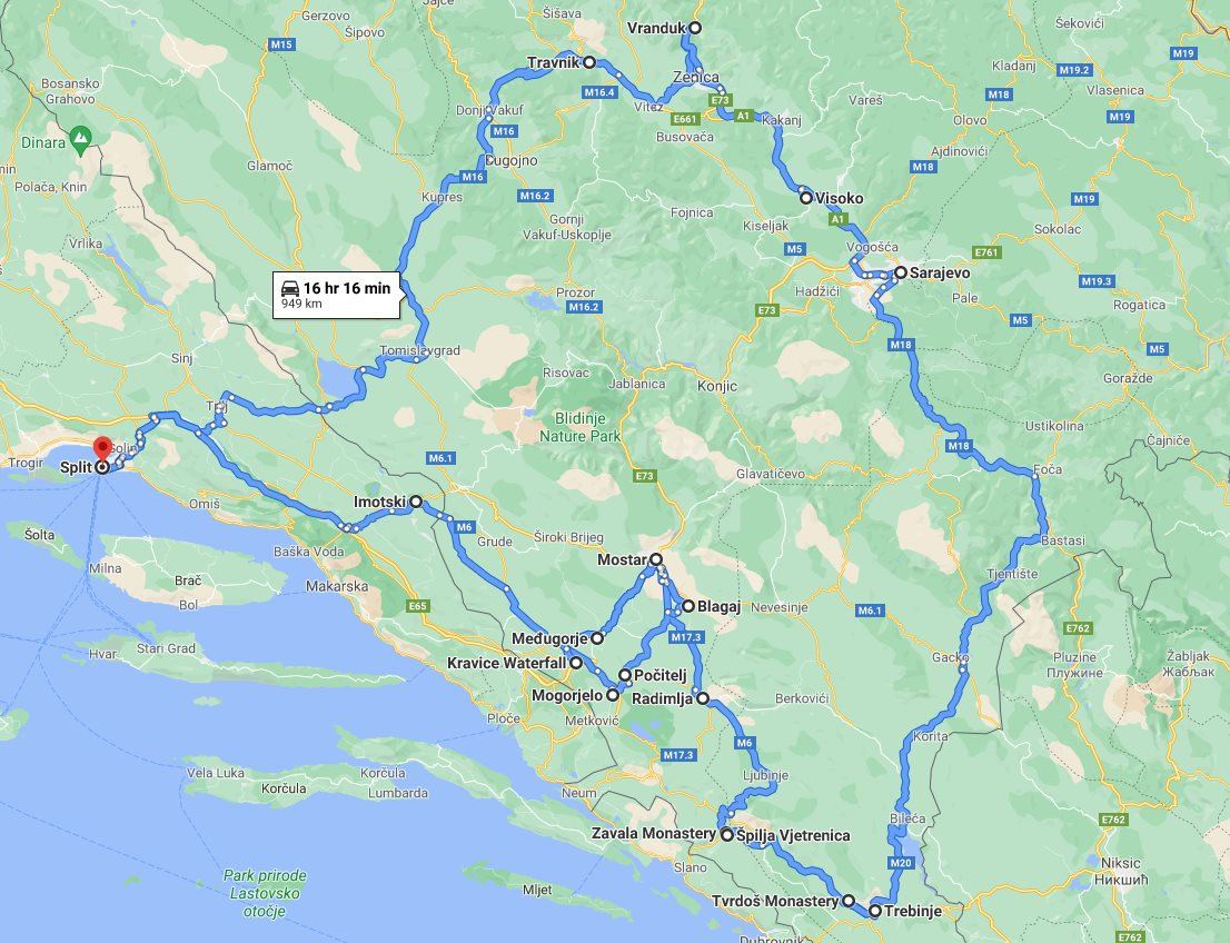 Tour map for All seasons 6 days Bosnia slow travel discovery tour from Split. Private tour with minivan by Monterrasol Travel. Visit main attractions in Bosnia and enjoy nature, wine, history. culture, cuisine.