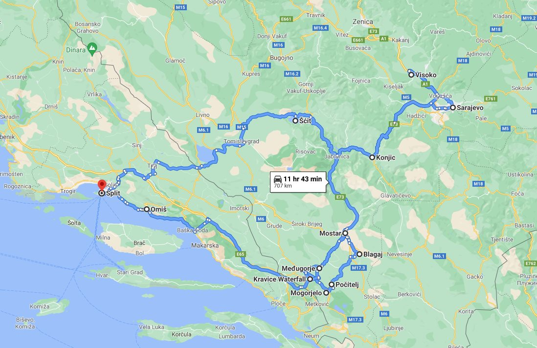 Tour map for #155 Discover Bosnia in 4 days roadtrip from Split. Private tour with minivan from Monterrasol Travel. Visit famous Sarajevo, Mostar, Pocitelj, Kravica.