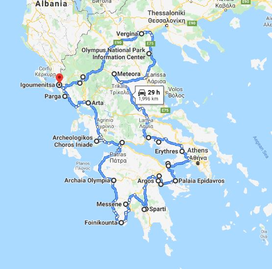Tour map for Off-season 19 days tour Greece UNESCO sites from Igoumenitsa. Ancient towns, castles, monasteries. Private minivan tour by Monterrasol Travel. Discover the most important UNESCO sites of Greece mainland and Peloponnese.