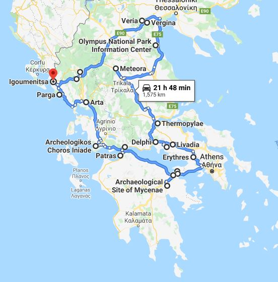 Tour map for Discover Greece in 11 days tour from Igoumenitsa. UNESCO sites, fortresses, monasteries. Private tour with minivan from Monterrasol Travel. Tour via ancient towns, beaches, castles and monasteries of Greece mainland.
