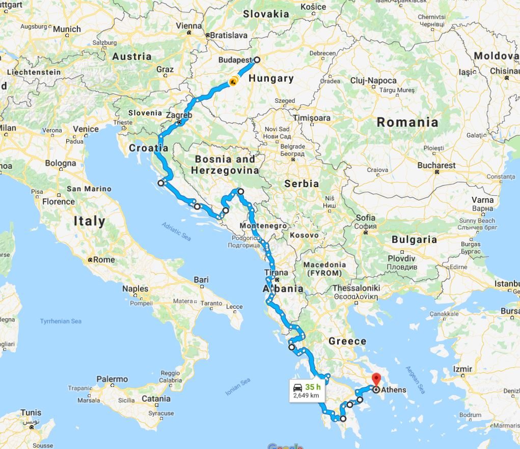 Tour map for Adriatic Grand tour 29 days from Budapest to Athens. Private tour in minivan by Monterrasol Travel. Visit the most interesting places in Hungary, Croatia, Bosnia, Albania, Greece.