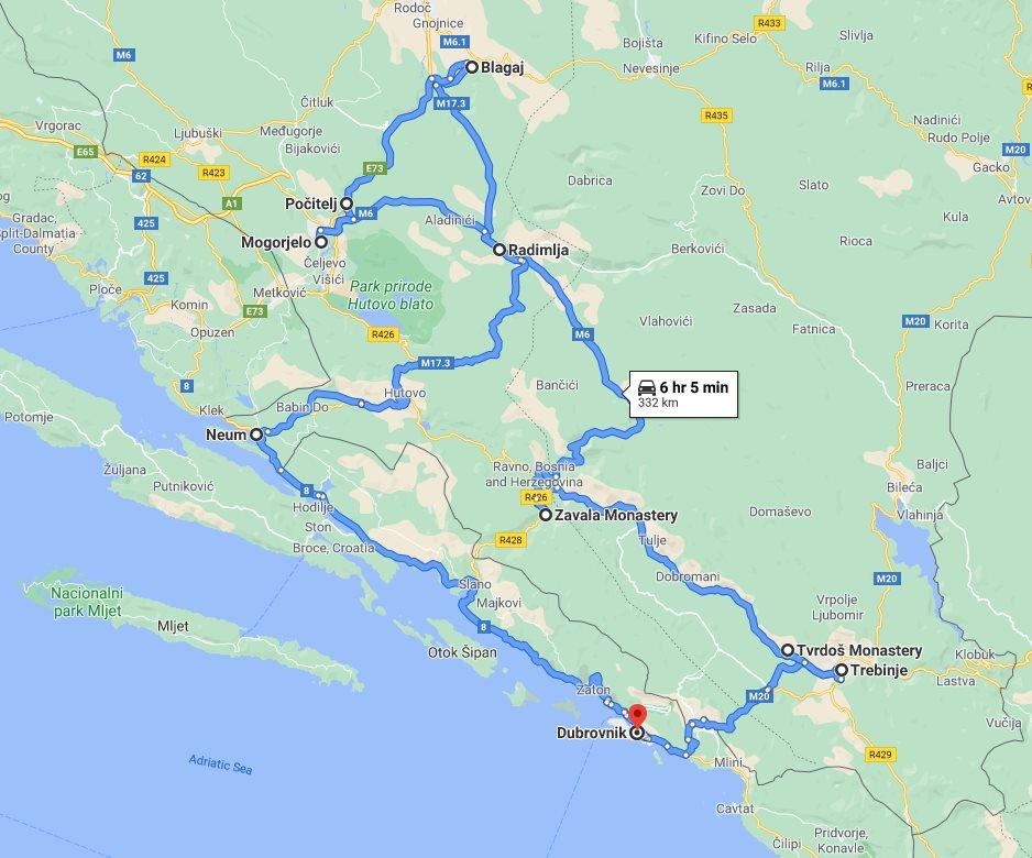 Tour map for All seasons 2 days Bosnia discovery tour from Dubrovnik. Monterrasol Travel private tour by minivan. Trebinje, Tvrdos monastery, Blagaj tekija, Pocitelj open-air museum, Roman villa Rustica.