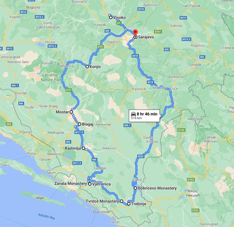Tour map for #162 All seasons 4 days Bosnia discovery tour from Sarajevo. Private car tour by Monterrasol Travel. Bosnian Pyramid, Mostar, Blagaj, Zavala, Tvrdos, Trebinje.