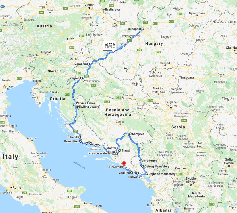 Tour map for #163 Explore Croatia Bosnia Montenegro by in-depth cultural tour 15 days. Monterrasol Travel minivan private tour. Roadtrip from Budapest to Dubrovnik. Old towns, fortresses, monasteries.