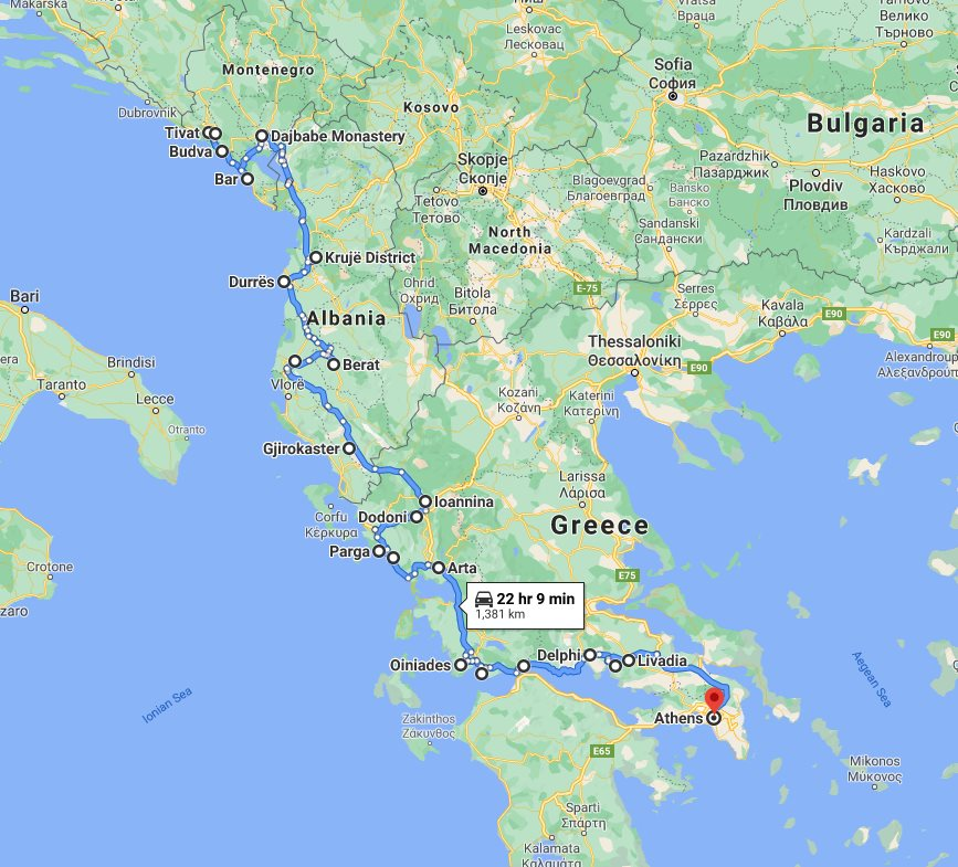 Tour map for Travel 15 days Adriatic coast of Montenegro and Albania + discover Greece mainland. Monterrasol Travel private tour in minivan. All seasons tour from Tivat to Athens.