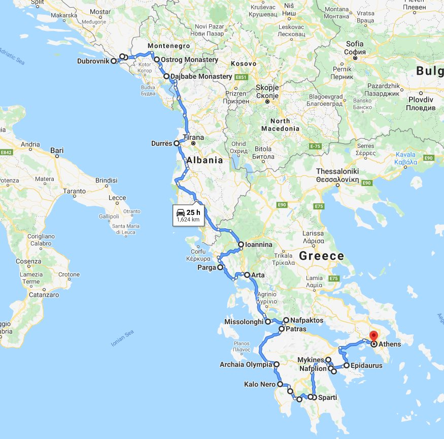 Tour map for Amazing south Balkans 18 days tour from Dubrovnik to Athens. Private minivan tour by Monterrasol Travel. Visit Bosnia, Montenegro, Albania, Greece mainland.