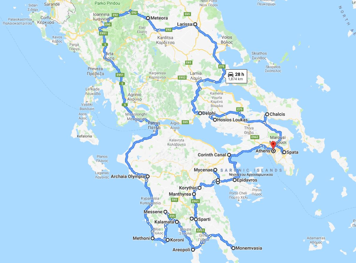 Tour map for Greece off-season UNESCO places tour 19 days from Athens. Monterrasol Travel private tour in minivan. Visit most of Greece mainland UNESCO and tentative list places.