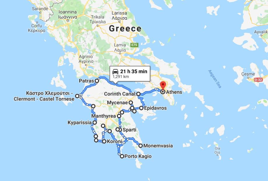 Tour map for Greek Peloponnese round tour in 15 days. Visit all main attraction of Peloponnese peninsula and see castles, ancient places, beaches. This is Peloponnese where located Sparta, Corinth, Mycenae, Epidaurus, Monemvasia. Monterrasol sightseeing 15 days private tour from Athens (Greece) by travel agency specialize on private customized car tours. Travel with Monterrasol from Athens (Greece) and discover Greece!