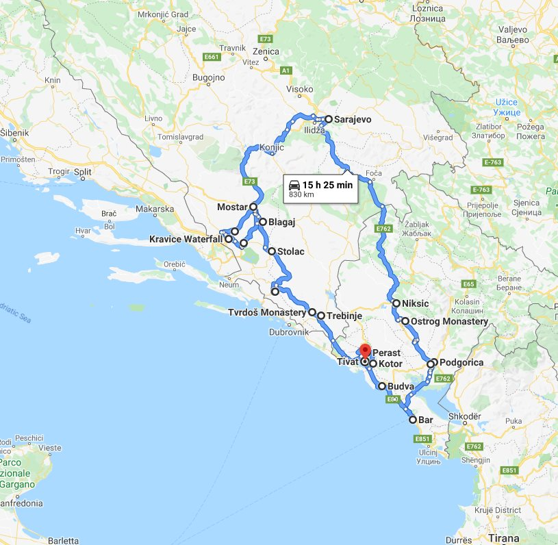 Tour map for All seasons 8 days tour over Bosnia and Montenegro from Tivat. Minivan private tour by Monterrasol Travel. Explore the best in Bosnia and Montenegro.