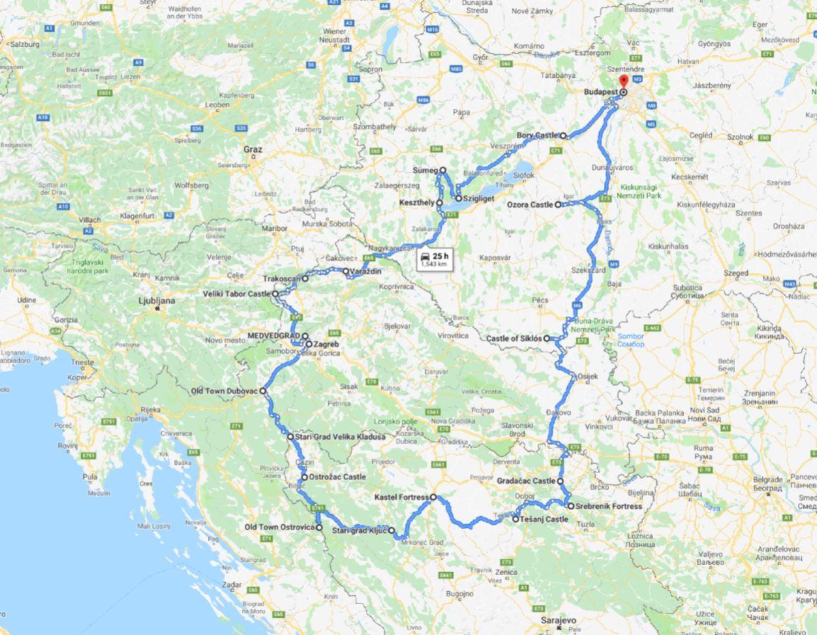 Tour map for Balkans castles tour 13 days. Visit 17 castles & fortresses in Hungary, Croatia, Bosnia. Monterrasol Travel minivan private tour. All seasons cultural tour across 3 countries.