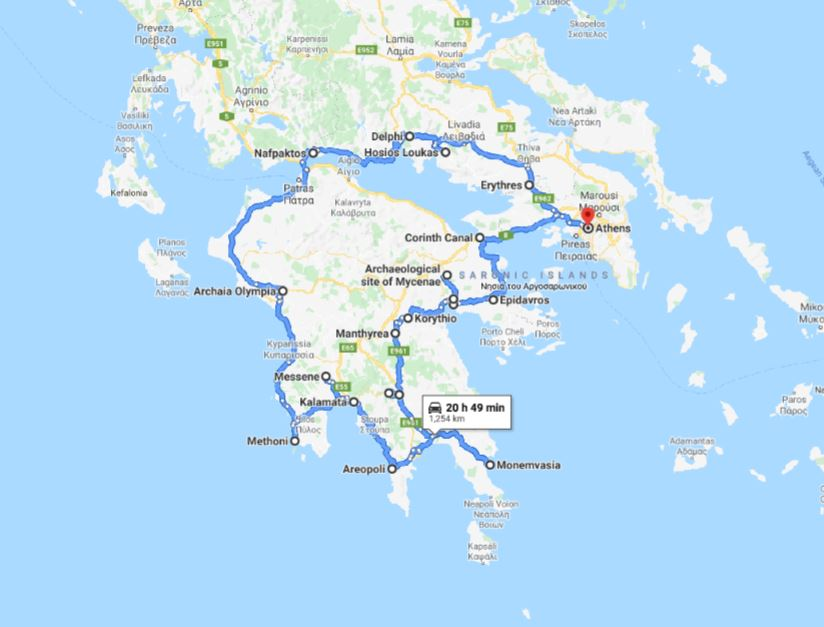 Tour map for Greece cultural tour 12 days from Athens. Monterrasol Travel private minivan tour. Visit main Greece mainland UNESCO and tentative list places.