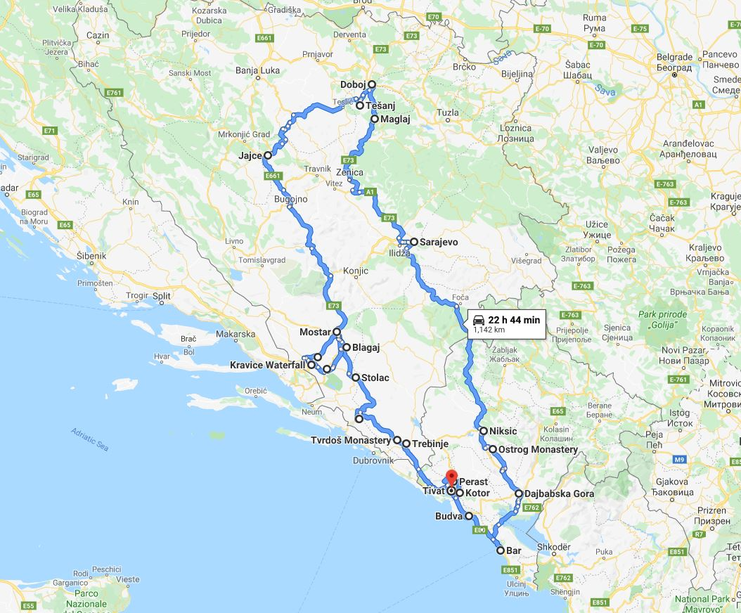 Tour map for #176 Out of season 11 days panoramic tour from Tivat to discover Bosnia and Montenegro. Monterrasol Travel private car tour. Explore the best in Bosnia and Montenegro.