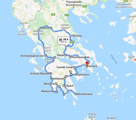 Tour map for Greece off-season UNESCO places tour 17 days from Athens. Monterrasol Travel minivan private tour. Visit main Greece mainland UNESCO and tentative list places.