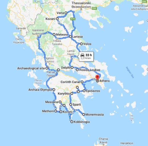 Tour map for Greece off-season UNESCO places tour 23 days from Athens. Monterrasol Travel private tour by minivan. Visit most Greece mainland UNESCO and tentative list places.