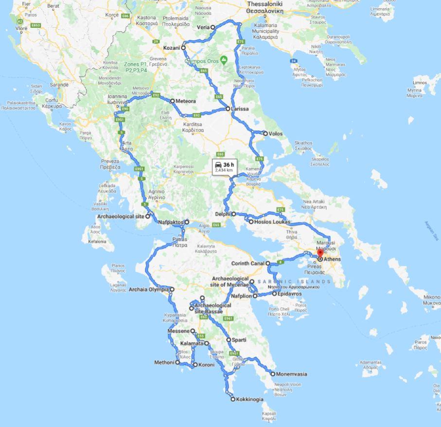 Tour map for Greece off-season UNESCO places tour 27 days from Athens. Minivan private tour by Monterrasol Travel. Visit most Greece mainland UNESCO and tentative list places.