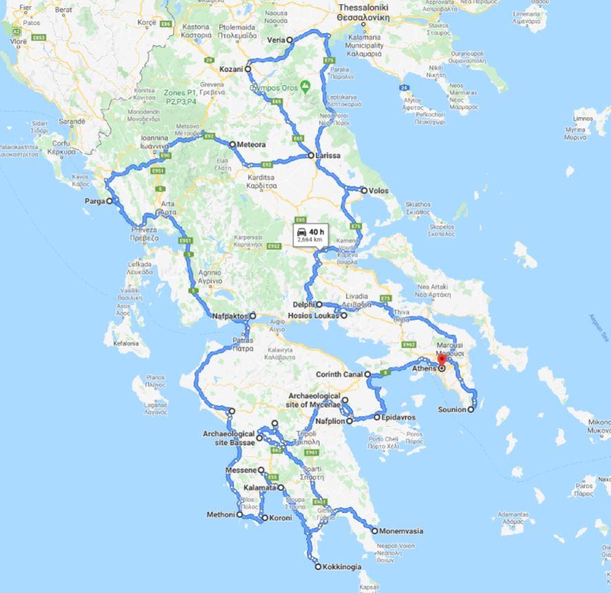 Tour map for #187 Greece off-season UNESCO places tour 29 days from Athens. Monterrasol Travel minivan private tour. Visit most Greece mainland UNESCO and tentative list places.