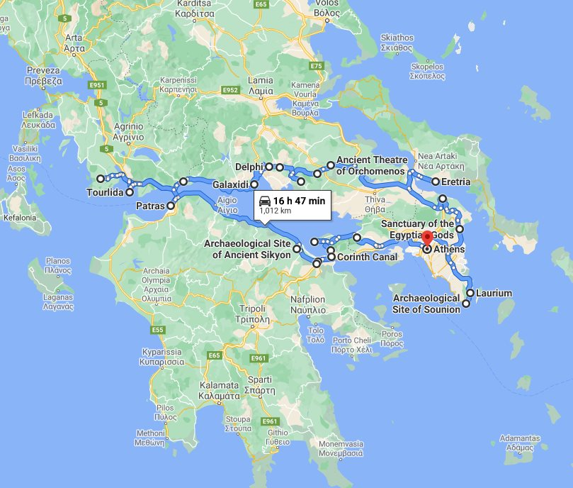 Tour map for #191 Greece off the beaten path 14 days tour from Athens. Ancient theaters, beaches, castles and monasteries. Monterrasol Travel tour with private minivan. Discover less touristy areas of central Greece and understand Greek's national character.