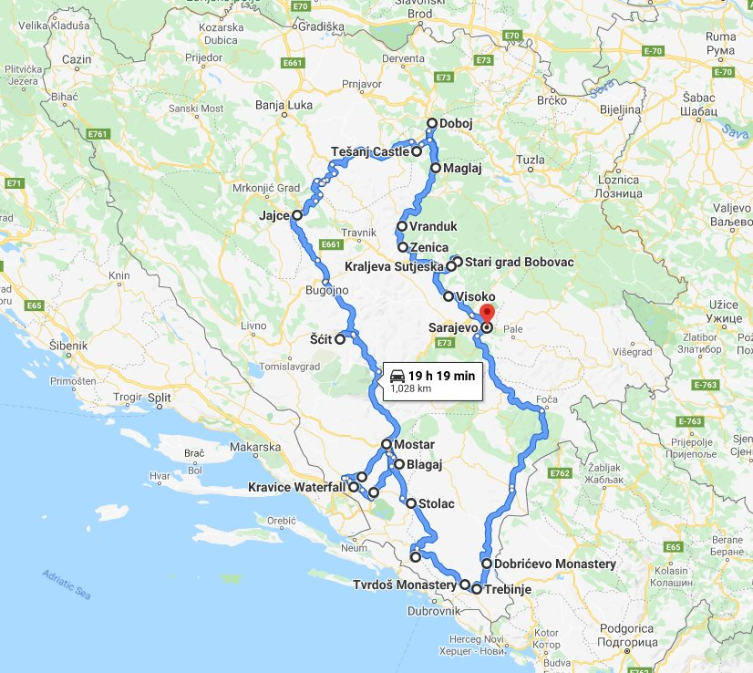 Tour map for All seasons 11 days Bosnia discovery non-touristy tour from Sarajevo. Monterrasol Travel private tour by car. Off the beaten path travel to Medieval land of Bosnia.