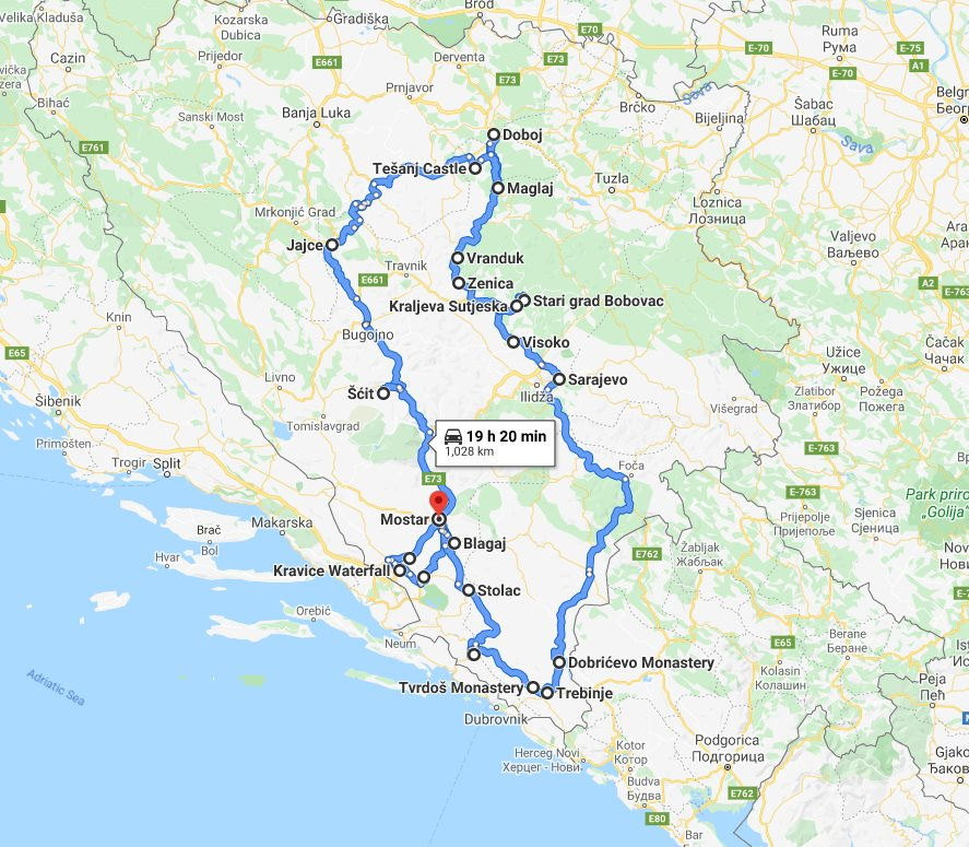 Tour map for All seasons 12 days Bosnia discovery non-touristy tour from Mostar. Monterrasol Travel private tour by car. Off the beaten path travel to Medieval land of Bosnia.