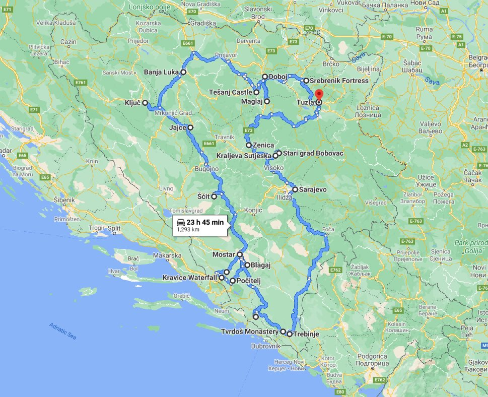 Tour map for All seasons 17 days Bosnia discovery non-touristy places tour from Tuzla. Private tour with minivan by Monterrasol Travel. Explore Medieval land of Bosnia by off the beaten path travel.