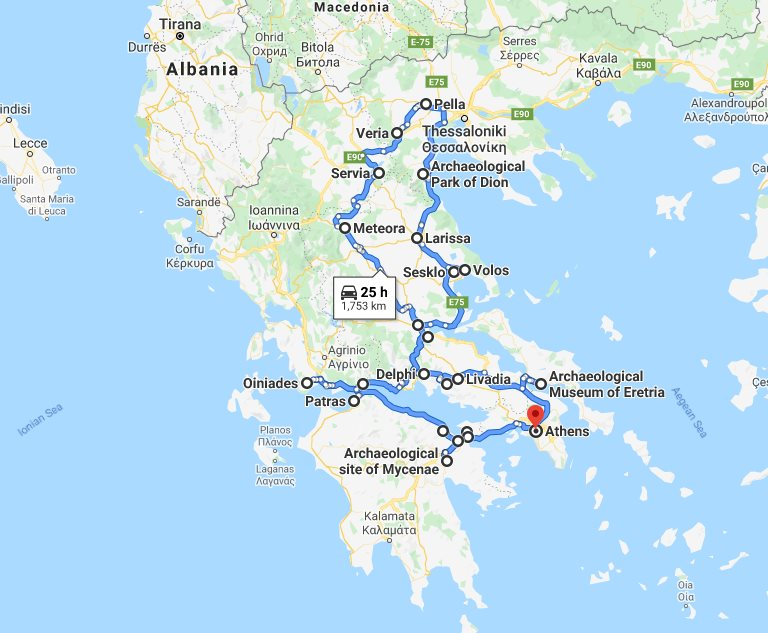 Tour map for Central Greece off-season 24 days tour from Athens. Private tour in minivan by Monterrasol Travel. Visit non-touristy and UNESCO and tentative list sites of Greece mainland.